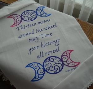 Thirteen Moon tea towel on brushed cotton